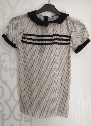 Блуза, блузка, футболка в горошек с воротником ретрр прозрачная