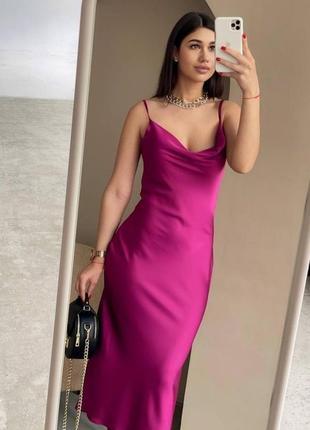 Вечернее платье комбинация слип дресс атласное шелковое вечірня сукня шовкова миди бельевом стиле