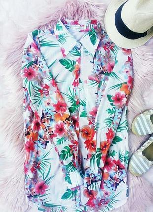 Рубашка блузка в тропический цветочный принт шифоновая