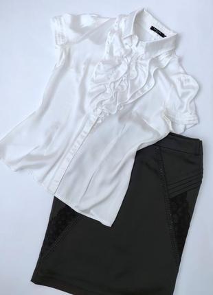 Белая блуза шелк с жабо воланами короткий рукав