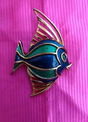 Винтажная брошь рыбка