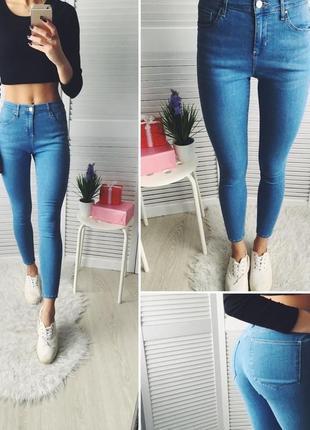 Голубые джинсы скини skinny topshop xs-s