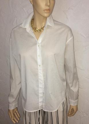 Базовая белая рубашка свободного кроя из органического  коттона