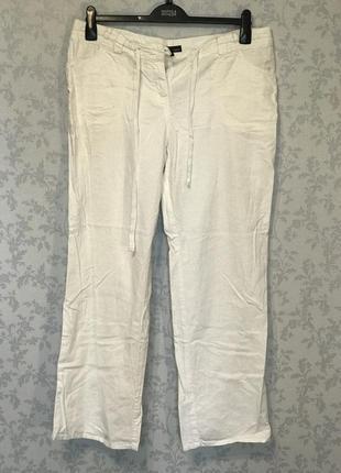 Белые брюки хлопок+лен 16 р в идеале