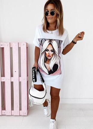Платье-футболка 2 цвета, платье мини, платье-туника, платье с принтом (арт 100404)
