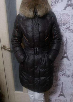 Фирменный пуховик-пальто