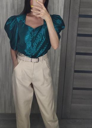 Шикарная блестящая блузка рубашка с объемными рукавами фонариками буфами