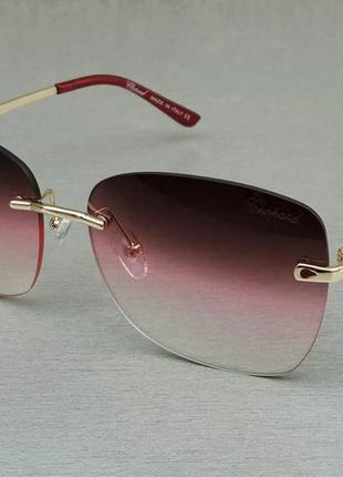 Chopard очки женские солнцезащитные безоправные бордово розовый градиент