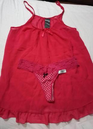 Набор пеньюар комбинация с воланом розовый неон и хлопковые трусики стринги