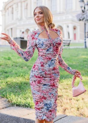 Распродажа присборенное платье prettylittleеhing  миди с  завязкой с asos