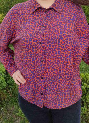 Рубашка длинный рукав блузка кофта леопардовый принт с пуговицами