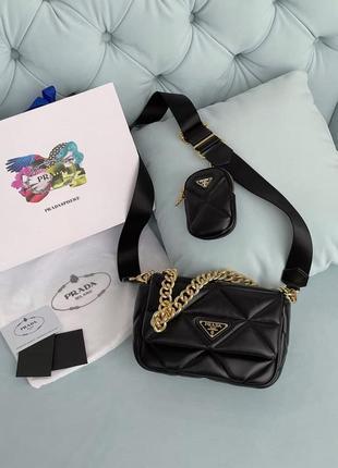 Крутая женская стёганая сумка клатч 2 в 1 в стиле prada system чёрная сумка с кошельком