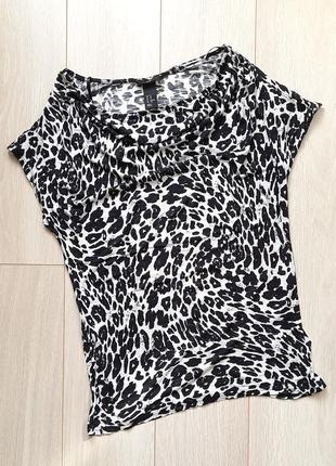 Футболка леопардовая черно-белая, леопард, принт