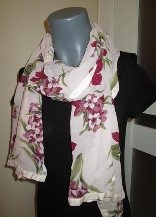 Лёгкий шарф шаль платок от country casuals, цветочный принт, вискоза, состояние идеал