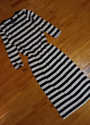 Плаття h&m сукня довга чорно-біла в полоску базове тільняшка