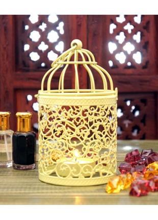 Подсвечник металлический с эмалью желтый
