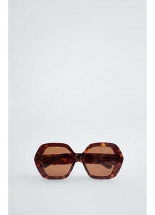 Солнечные очки в шестиугольной оправе из ацетата zara оригинал4 фото