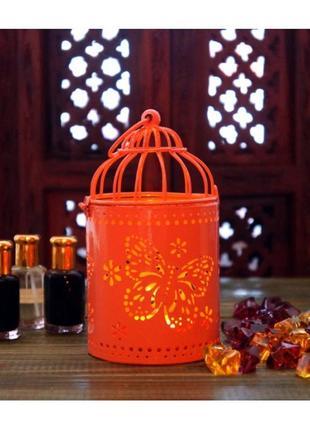 Жестяной подсвечник с эмалью персикового цвета