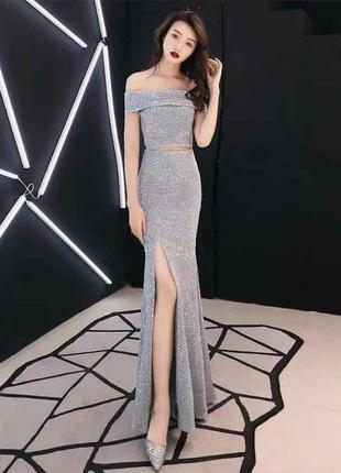 Дорогой  комплект 100% вискоза юбка в пол топ накидка серебро на м полную л платье костюм