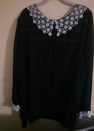 Черная шифоновая блуза с кружевным воротником бренда george. р.54-56