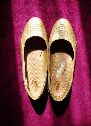 Спортивные туфли кеды puma золотые размер 40