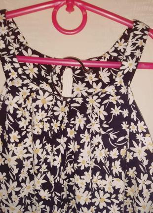 Летняя легкая вискозная блуза без рукавов в цветочек ромашку , майка 14 размер.