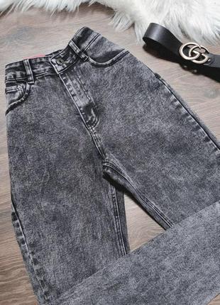 Серые джинсы варенки мом момы mom jeans