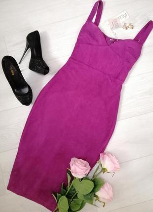 Платье замш фуксия