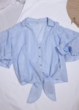 Летняя блуза с обьемными рукавами и завязками