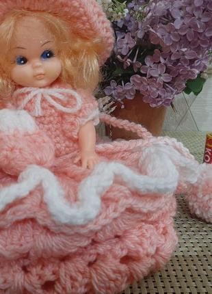 Кукла, лялька гдр, панночка у в'язаній сукні із сумочкою
