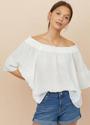 Фирменная блузка с открытыми плечами h&m, размер 38