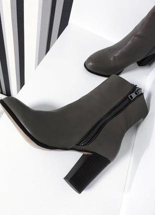 Ботинки, ботильоны tesco f&f, в цвете тауп на толстом каблуке 🔥❤️