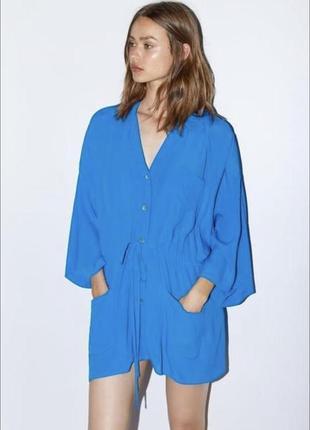 Яскраве літнє оверсайз  плаття-туніка від іспанського бренду zara.