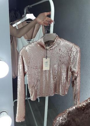 Кофта в пайетки | блуза в пайетки | топ с рукавом в пайетки | топ | майка |блуза |
