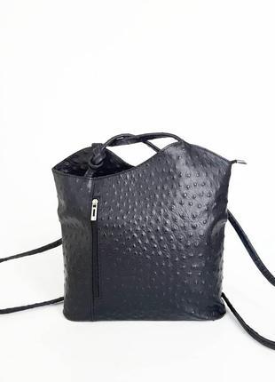 Borse in pelle. италия. кожаная сумка-рюкзак трансформер