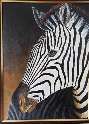 Картина в  гостиную, кабинет зебра. акрил 30х40 см