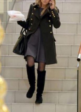 Шерстяное пальто в стиле милитари шинель цвета хаки