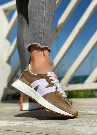 Кроссовки женские new balance 327 brown white
