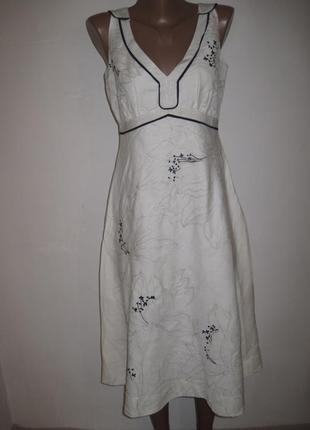Льняное платье с вышивкой monsoon р-р12