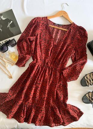 Красивое платье в горох zara р.s