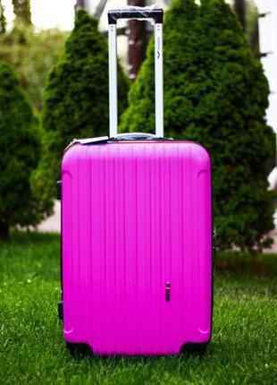 Ниже закупки! 1шт! большой розовый чемодан из поликарбоната! велика рожева валіза