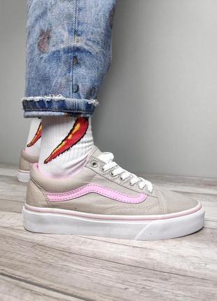Крутые женские кеды vans old skool light grey/pink