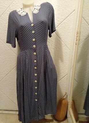 Платье-халат винтаж горох горошек