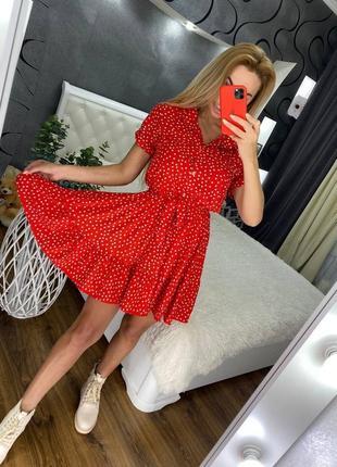 Літня сукня в горох 4 кольори