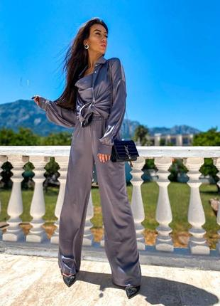 Шелковый костюм тройка майка рубашка оверсайз и брюки плаццо