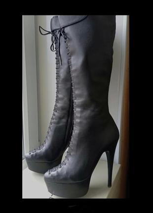 Кожаные высокие сапоги,шнуровка