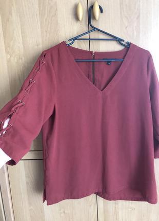 Блуза тицианового оттенка красного