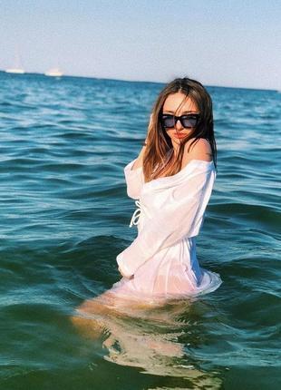 Пляжное платье туника лен батист3 фото