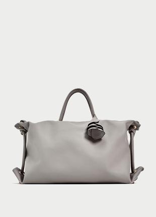 Шикарная сумка шоппер серо-дымчатого цвета zara,новая