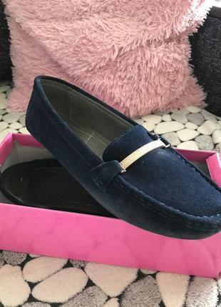 Синие туфли мокасины натуральная замша